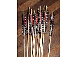 Plains Indian Style arrows, grey barred feathers wrapped in back and front with elk sinew, crested under the feathers